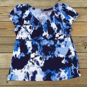 Lane Bryant blue white blouse w/ gathered bust
